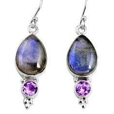 12.06cts natural blue labradorite amethyst 925 silver dangle earrings r9693