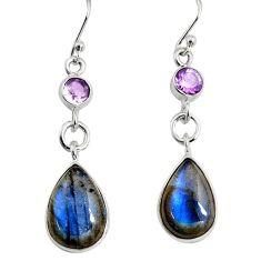 925 silver 13.06cts natural blue labradorite amethyst dangle earrings r9694