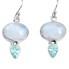 925 silver 13.55cts natural rainbow moonstone blue topaz dangle earrings r9698