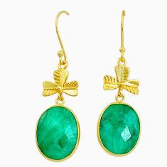 18.17cts natural green emerald handmade 14k gold dangle earrings t16439