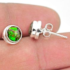 925 silver 4.21cts natural multi color ammolite (canadian) stud earrings t19418
