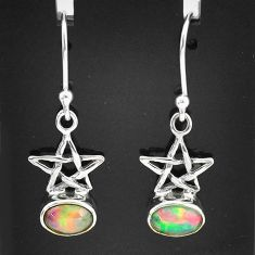 2.65cts natural multi color ethiopian opal 925 silver dangle star earrings t5922
