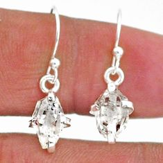 4.73cts natural white herkimer diamond 925 sterling silver dangle earrings t6801