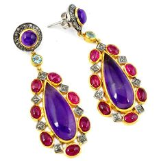 48.38cts estate natural diamond purple amethyst 925 silver gold earrings v1401