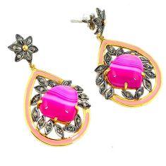 26.20cts victorian diamond pink botswana agate enamel 925 silver earrings v1567