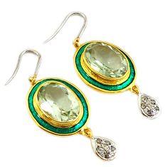 12.72cts victorian diamond green amethyst enamel 925 silver gold earrings v1569