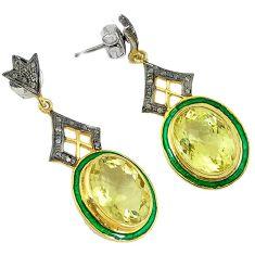 925 silver 28.91cts vintage diamond lemon topaz enamel 14k gold earrings v1732