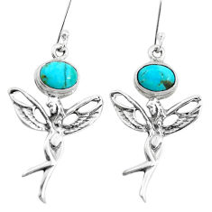 5.31cts arizona mohave turquoise 925 silver angel wings fairy earrings p38444