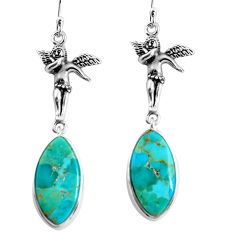 13.15cts arizona mohave turquoise 925 silver angel wings fairy earrings p91866