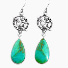 14.23cts arizona mohave turquoise 925 silver cupid angel wings earrings p91862