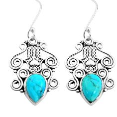 6.35cts arizona mohave turquoise 925 silver hand of god hamsa earrings p41452