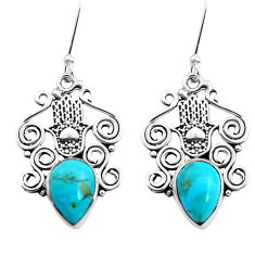 6.02cts arizona mohave turquoise 925 silver hand of god hamsa earrings p41453