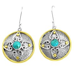 2.07cts arizona mohave turquoise 925 sterling silver dangle earrings p37736