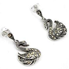 Art deco marcasite 925 sterling silver swan dangle earrings jewelry h48140