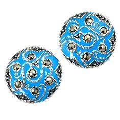 Art deco marcasite blue enamel 925 sterling silver stud earrings jewelry h48988