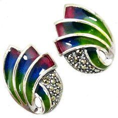 Art deco marcasite multi color enamel 925 sterling silver stud earrings h55765