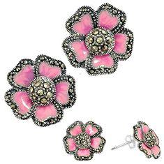 Art deco marcasite pink enamel 925 sterling silver flower stud earrings h55751