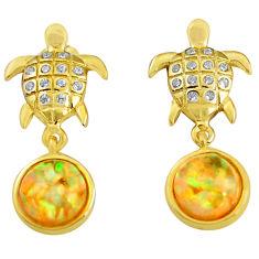 3.17cts australian fire opal topaz 925 silver dangle 14k gold earrings c4553