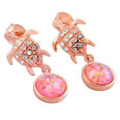 Australian fire opal topaz 925 silver tortoise 14k rose gold earrings c4590