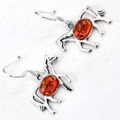 AUTHENTIC ORANGE AMBER 925 STERLING SILVER HORSE DANGLE EARRINGS JEWELRY H5134