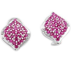 AWESOME NATURAL PINK RHODOLITE 925 STERLING SILVER STUD EARRINGS JEWELRY H26904