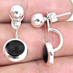 4.02gms black onyx enamel 925 sterling silver dangle earrings jewelry c1612