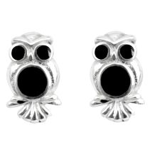 4.25gms black onyx enamel 925 sterling silver owl earrings jewelry c2569