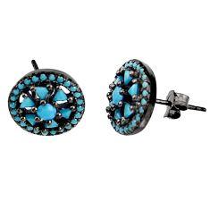 2.30cts black rhodium fine blue turquoise 925 silver stud earrings c5565