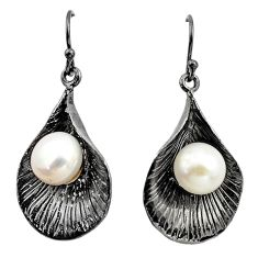 11.63cts black rhodium natural white pearl 925 silver 14k gold earrings c4711