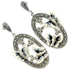 Black white enamel marcasite 925 silver butterfly dangle earrings jewelry h55746
