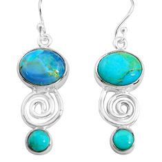 11.23cts blue arizona mohave turquoise 925 silver dangle earrings p85589