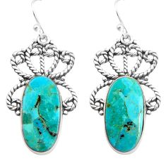 17.98cts blue arizona mohave turquoise 925 silver dangle earrings p91968