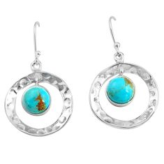 5.63cts blue arizona mohave turquoise 925 sterling silver dangle earrings p85606