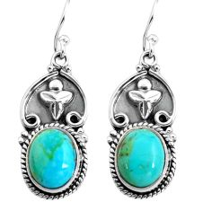 8.99cts blue arizona mohave turquoise 925 sterling silver dangle earrings p85643