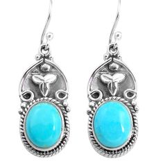 9.10cts blue arizona mohave turquoise 925 sterling silver dangle earrings p85645