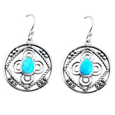3.13cts blue arizona mohave turquoise 925 sterling silver dangle earrings p91469