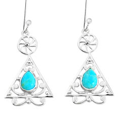 3.17cts blue arizona mohave turquoise 925 sterling silver earrings p58525
