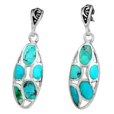6.02gms blue arizona mohave turquoise enamel 925 silver dangle earrings c4823
