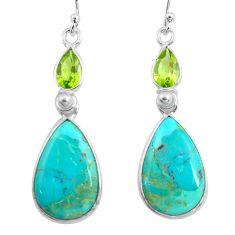 14.30cts blue arizona mohave turquoise peridot 925 silver dangle earrings p78654