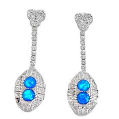3.87cts blue australian opal (lab) topaz 925 silver dangle earrings c2450