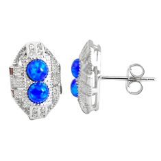 3.03cts blue australian opal (lab) topaz 925 silver dangle earrings c2458
