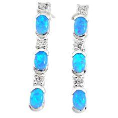 5.75cts blue australian opal (lab) topaz 925 silver dangle earrings c2806