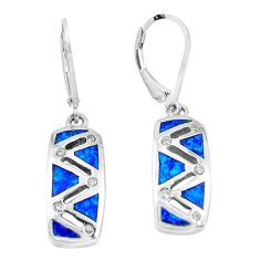 1.34cts blue australian opal (lab) topaz enamel 925 silver dangle earrings c3142