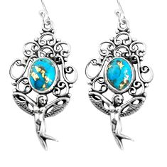 6.53cts blue copper turquoise 925 silver angel wings fairy earrings p52009