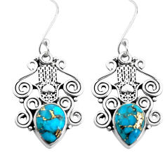 6.58cts blue copper turquoise 925 silver hand of god hamsa earrings p41458