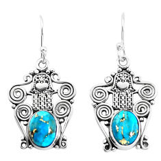 5.38cts blue copper turquoise 925 silver hand of god hamsa earrings p51925