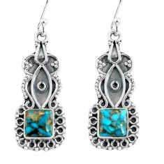 4.64cts blue copper turquoise 925 sterling silver dangle earrings jewelry d32467