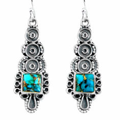 Clearance Sale- 5.03cts blue copper turquoise 925 sterling silver dangle earrings jewelry d32473