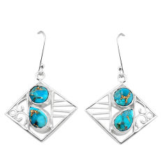 7.07cts blue copper turquoise 925 sterling silver dangle earrings jewelry p32486