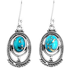 4.04cts blue copper turquoise 925 sterling silver dangle earrings jewelry p39292